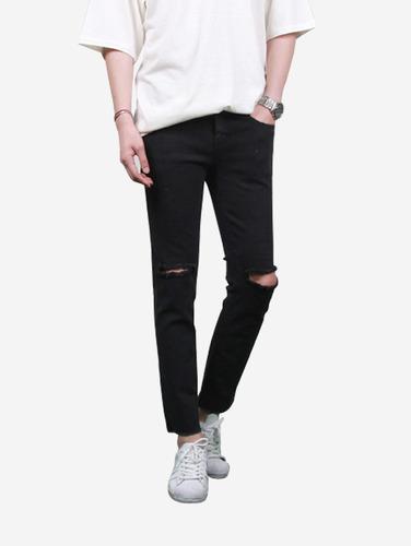 무릎 데미지 2컬러 슬림핏 진007) Knee damage 2color slimfit jeans 8270,71