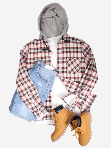 no.46) 체크 패턴 오버핏 3컬러 후드 셔츠