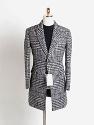 울 체크패턴 싱글 코트[ Ashed ] wool check pattern single coat